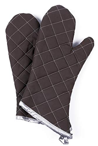 Oven Mitts 1 Pair of Quilted Cotton Lining - Heat Resistant Kitchen Gloves,Flame Oven Mitt Set (Brown, Cotton)