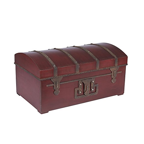 Household Essentials Decorative Vintage Storage Trunk, Red, Medium by Household Essentials