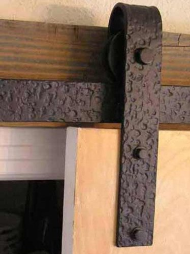 Agave Ironworks RH003-8-04 Barn Door Hardware System with 8' Track, Dark Bronze Finish by Agave Ironworks