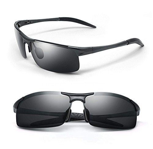 REVOLV POLARIZED MEN'S SUNGLASSES | SPORT WRAP STYLE | ALUMINUM METAL FRAME | PERFECT FOR DRIVING CYCLING RUNNING (Matte Black, Black - Your Sunglasses Put On