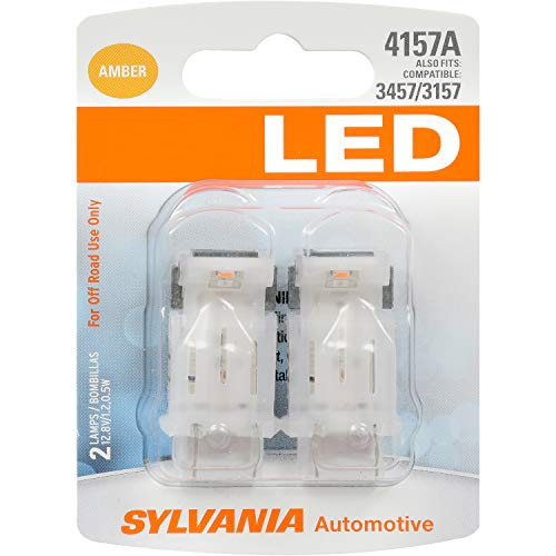 SYLVANIA - 4157 LED Amber Mini Bulb - Bright LED Bulb, Ideal for Park and Turn Lights (Contains 2 Bulbs)