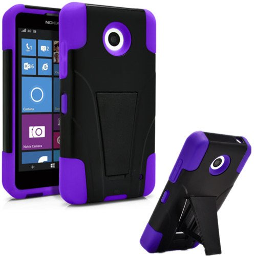 Nokia Lumia 635 Case, Premium Durable Hard&Soft Rugged Shell Hybrid Protective Phone Case Cover with Built in Kickstand【Storm Buy】 (Purple) (Phone Accessories Nokia Lumia 635 compare prices)