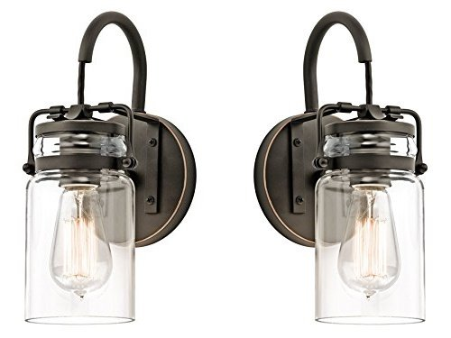 Kichler 45576OZ Brinley 1-Light Wall Sconce and Clear Glass Shade, Olde Bronze Finish (Old Bronze Finish - 2 Pack)