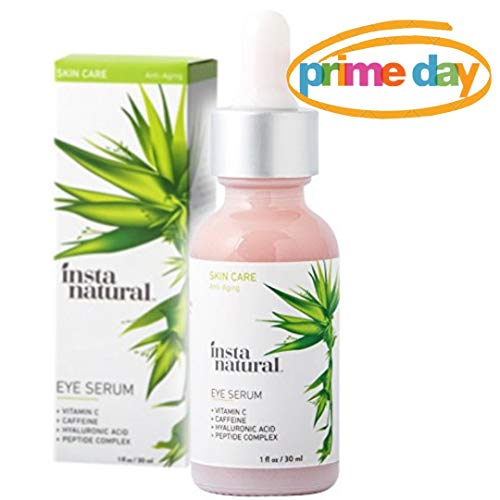 Eye Serum for Dark Circles & Puffiness - Reduces Bags, Wrinkles, Fine Lines, Sagging Skin & Puffy Eyes - With Vitamin C, Caffeine, Plant Stem Cells, Astaxanthin & Kojic Acid - InstaNatural - 1 oz