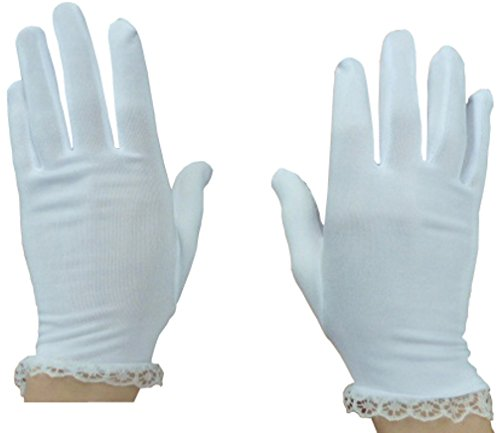 N'Ice Caps Girls Stretch White Special Occasion Parade Costume Gloves (White 1, 3-5 Years) from N'Ice Caps