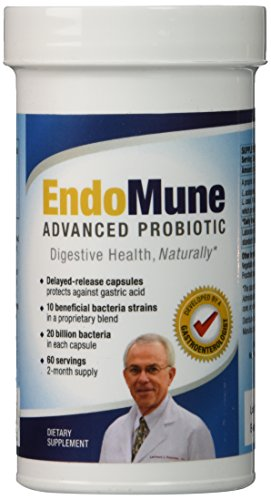EndoMune Advanced Probiotic - Only GI Doc Developed Probiotic Supplement - 60 Once Daily Time Release Capsules - Protected Against Gastric Acid Until Reaches Large Intestine - Gluten and Dairy Free - Smart Bottle Protects Against Humidity - No Refrigeration Necessary - Improve Your Digestive Health with 10 Bacterial Strains: Lactobacillus and Bifidobacterium | Plus the Prebiotic FOS (Fructooligosaccharide)