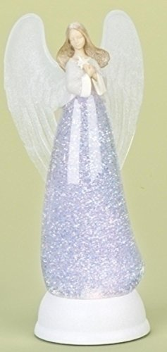 "Roman 12"" LED Lighted Battery Operated Christmas Angel Swirling Glitterdome Figure"