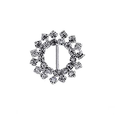 AngHui ShiPin 30pcs 20mm Beautifull Sunflower shaped Rhinestone Buckle Slider for Wedding Invitation Letter