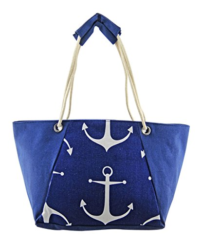 LilyRosa? Flamingo Anchor Pineapple Stripe Floral Star Beach Canvas Bag Blue Red Pink Holiday Pool Bags Blue Beach Bag Large