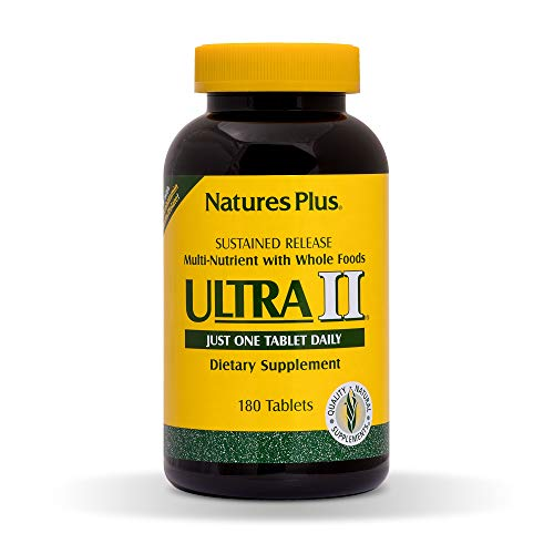 Natures Plus Ultra II Multivitamin - 180 Vegetarian Tablets, Sustained Release - Daily Vitamin and Mineral Supplement for Overall Health, Energy Booster - 180 Servings