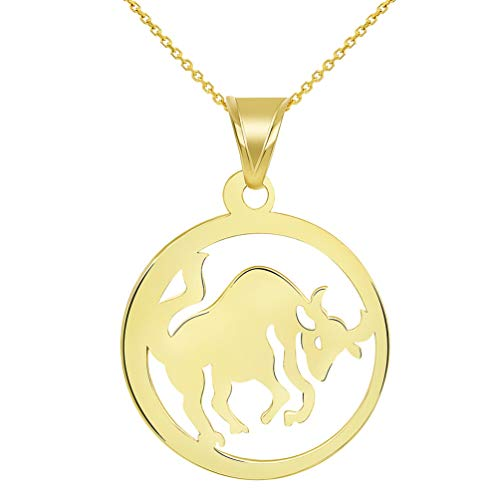 Solid 14k Yellow Gold Round Taurus Zodiac Sign Bull Disc Pendant Necklace, 18