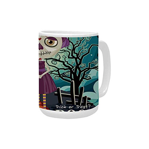Halloween Ceramic Mug,Cartoon Girl with Sugar Skull Makeup Retro Seasonal Artwork Swirled Trees Boo Decorative for Home,15OZ -
