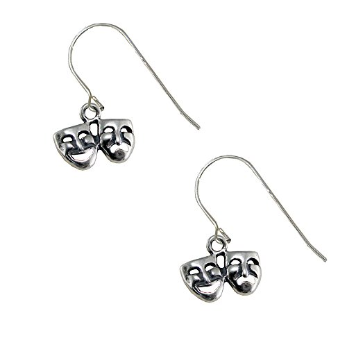 (Sterling Silver Tiny Comedy And Tragedy Drop Dangle Earrings)