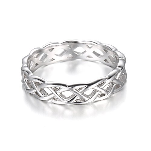 925 Sterling Silver Ring Boruo Celtic Knot High Polish Tarnish Resistant Eternity Wedding Band Stackable Ring Size 10 Photo #4