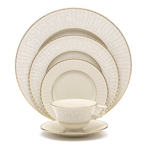 (Lenox Citation Lace Gold Banded Ivory China 5-Piece Dinnerware Place Setting, Service for 1 )