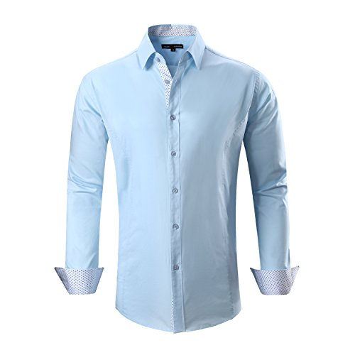 (Alex Vando Mens Dress Shirts Regular Fit Long Sleeve Men Shirt(Blue,Medium))