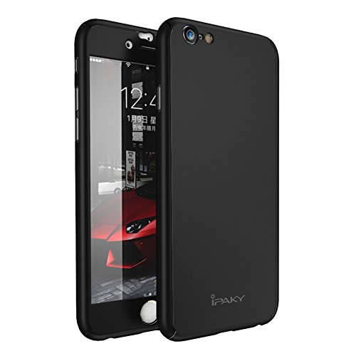 iPhone 6s Plus Case,iPhone 6 Plus Case,Rebex & IPAKY Ultra Thin All-round Protective Cover Matte Finish Dual Layer Hard Case with Tempered Glass Screen Protector for iPhone 6S/6 Plus 5.5[Black]