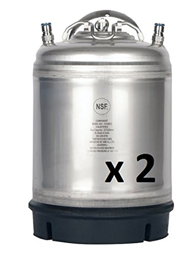 New Amcyl Ball Lock 2.5 Gallon Keg with Single Metal Handle - 2 Pack