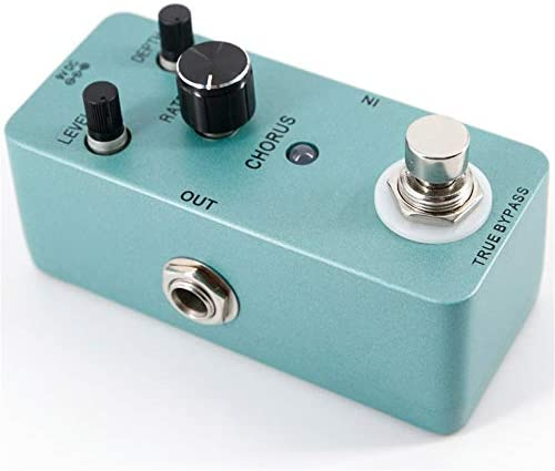 ギターエフェクター メタルシェルトゥルーバイパスレベルレートデプス調節可能なノブエレクトリックギターコーラスエフェクトペダルフル ディストーション (Color : Blue, Size : Free size)