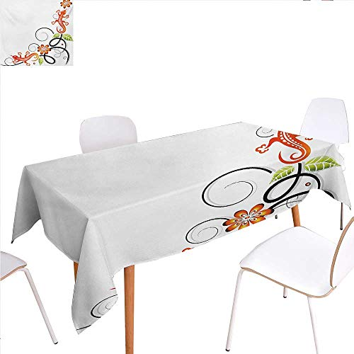 familytaste Tribal Printed Tablecloth Small Baby Lizard Flowers and Leaves with Oriental Ethnic Lines Print Rectangle Tablecloth 50
