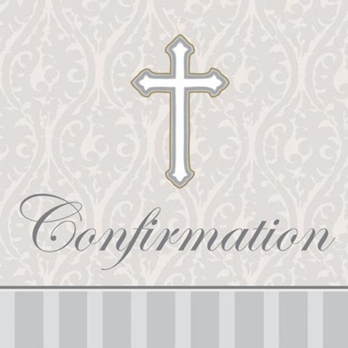 Scrollwork Cross (16-Count Confirmation Lunch Napkins, Silver Devotion Cross)