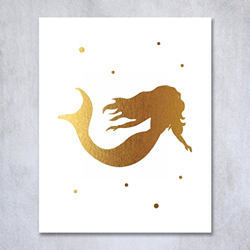 Mermaid Gold Foil Print or Under The Sea Nursery Art Baby's Room Children Kids