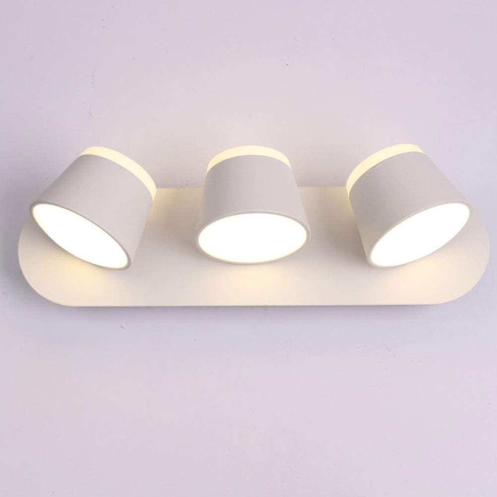 BIN LED a Tre Teste Lampada da Parete, Camera da Letto Lettura del Letto Luce, Testa di Lampada Regolabile, Nero Bianco Interruttore a Cinghia, 3  9W 220V,bianca,Button