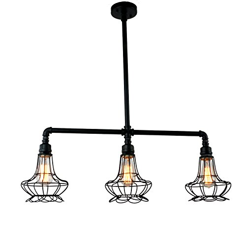 Traditional 3 Light Island (UNITARY BRAND Black Antique Rustic Metal Cage Shade Hanging Ceiling Pendant Light Max. 120W With 3 Lights Painted Finish)