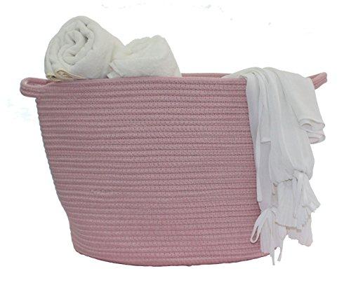 Large Cotton Rope Storage Basket Laundry Basket for Kids Nursery Decor,Toys Organizer (Pink XL)