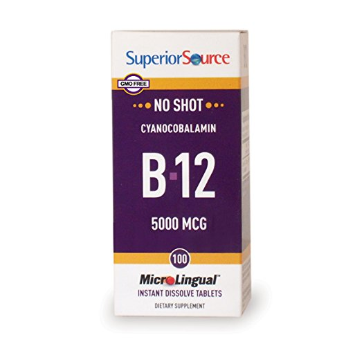 Superior Source No Shot Vitamin B12 Tablets, 5000 mcg, 100 Count For Sale