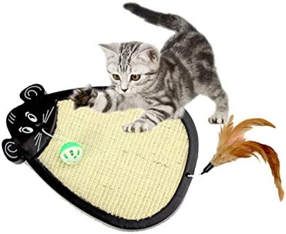 Amazon.com : Best Quality pet cat Toy Interactive Mouse Type Natural sisal Belt Ball Feather Toy cat Scratch Board cat Springboard Claws cat Toys Gatos ...