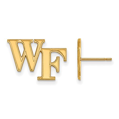 10k Yellow Gold LogoArt Official Licensed Collegiate Wake Forest University (WFU) Small Post Earrings by LogoArt