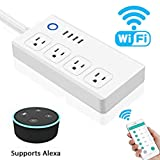 WiFi Smart Power Strip, GOXMGO Surge Protector with 4 USB Port and 4 Individually Controlled Smart Plug, Compatible with Alexa/Google Assistant, Timing Function, Remote Control