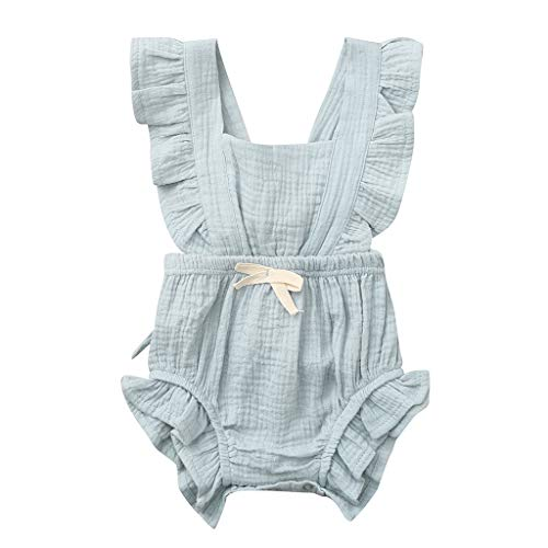 WOCACHI Toddler Baby Girls Clothes, Newborn Infant Baby Girls Color Solid Ruffles Backcross Romper Bodysuit Outfits Sundress Mom Daughter Son Coverall Layette Sets Best Gift Multi Essentials 0-3M from WOCACHI