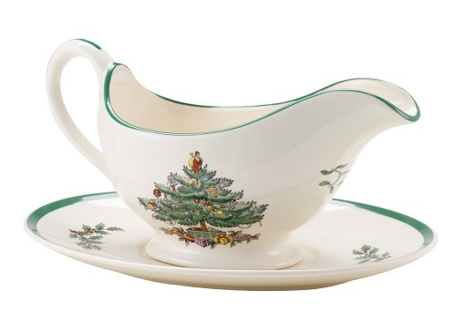 Spode Sauce Boat - Spode Christmas Tree Sauce Boat and Stand