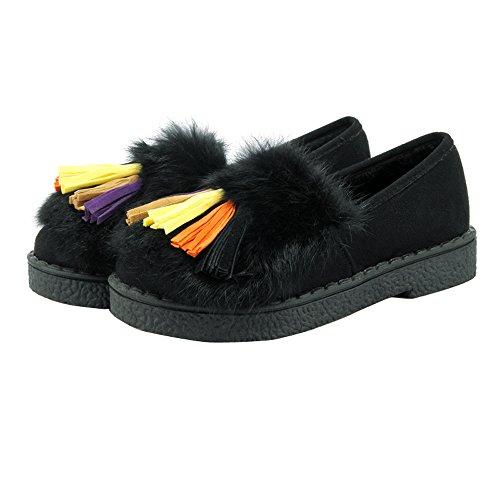 ENMAYER Mujeres Erweiterte Echten Kaninchenfell Quaste Bequeme matte Stoff Rutschfeste Schuhe Negro
