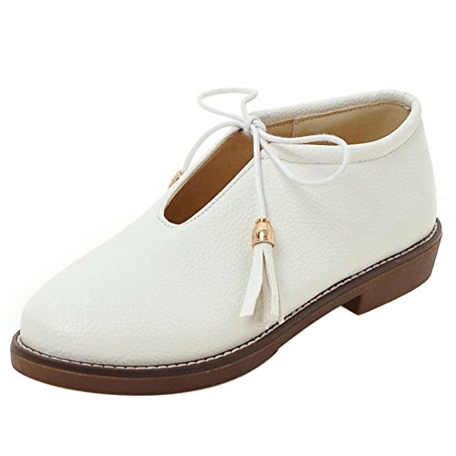 Toe White Women COOLCEPT Lace Closed Beige Pumps Flat Up Tassel Shoes PAYxvqg