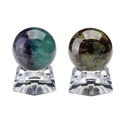 PESOENTH Dragon Blood Jasper Fluorite Crystal Ball Gemstone Spheres 35mm /1.4