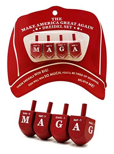 MAGA Dreidel Dreidel Make America Great Again - Hanukkah Draydel (Set of 4) ()