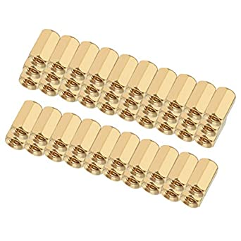 uxcell 20pcs Brass Straight PCB Pillar Female Thread Hex Standoff Spacer M4x6x6mm