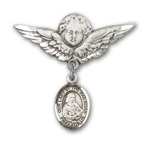 Icecarats Créatrice De Bijoux En Argent Sterling O / L Du Charme Ange Pin Badge De Chemin De Fer 1 1/8 X 1 1/8