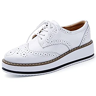 DADAWEN Women's Platform Lace-Up Wingtips Square Toe Oxfords Shoe White US Size 10/Asia Size 43/26.5cm