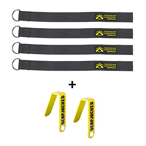 Squat Rack Straps and Chart Hooks - Compatible with Crossover Cord Shoulder Resistance Bands - Crossover Symmetry