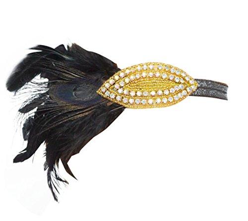 Blank K Flapper 1920's Headpiece Beaded Fascinator Wedding Bridal Feather Fascinator Great Gatsby Bridal Tiara Headband (Gold) by Blank K
