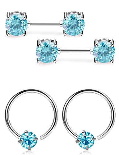 ORAZIO 14G/21G Stainless Steel Nipple Ring Captive Ring Set CZ Barbell Ring Helix Tragus Piercing Set for Women