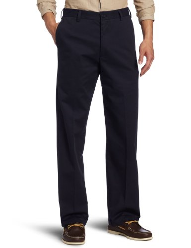 IZOD Men's American Chino Flat Front Straight-Fit Pant, Navy, 33W x 30L Navy Flat Front Dress Pants