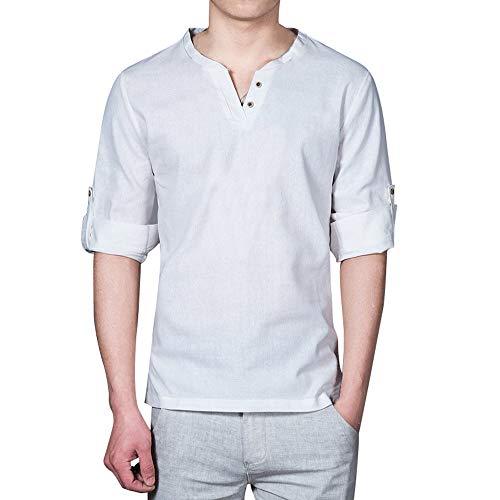 コットン Tシャツ メンズ リネン シャツ 無地 夏服 秋 大きいサイズ Vネック 長袖 白 麻生地 速乾 通気 高品質 和風シャツ ゆったり 男性夏服 部屋着 普段着 柔らかい 快適 超薄い ロング丈 Mー4XL
