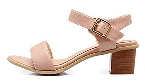 Round Buckle Toe Sandals Pink Aisun Shoes Women's Simple CtnEExOq