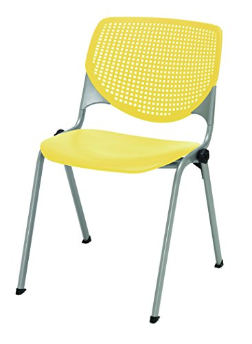 KFI Seating Poly Stack Chair with Perforated Yellow Back by KFI Seating