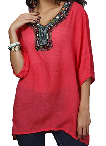 XQS Womens Beading Embroidery Loose Fit product image